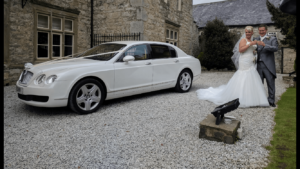 Mercedes white wedding car